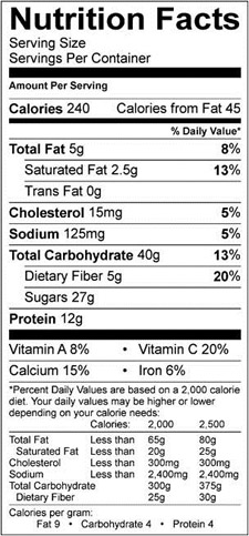 Banana Berry Breakfast Crumble Nutrition Facts