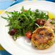Dijon Salmon Cakes and Arugula with Lemon-Caper Oil